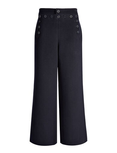 Pantalon court Portland en laine double, in INK, large | on Joseph