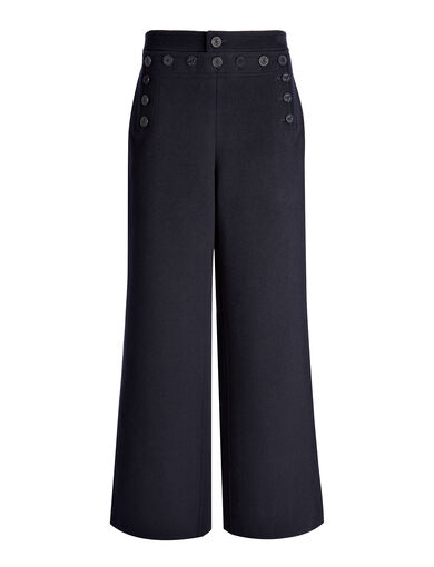 Double Wool Portland Cropped Trouser, in INK, large | on Joseph