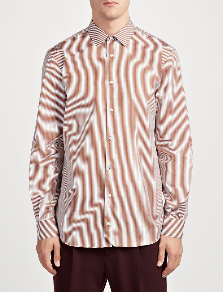 Retro Stripe John Shirt, in CHOCOLATE, large | on Joseph