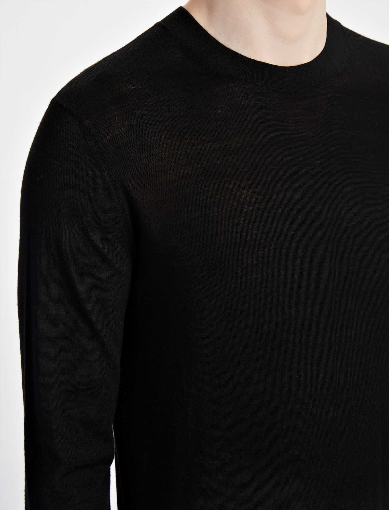 Joseph, Light Merinos Sweater, in BLACK