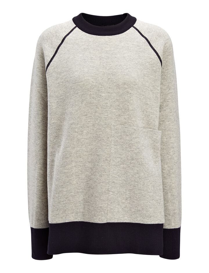 Bonded Wool Cashmere Sweater, in GREY CHINE, large | on Joseph