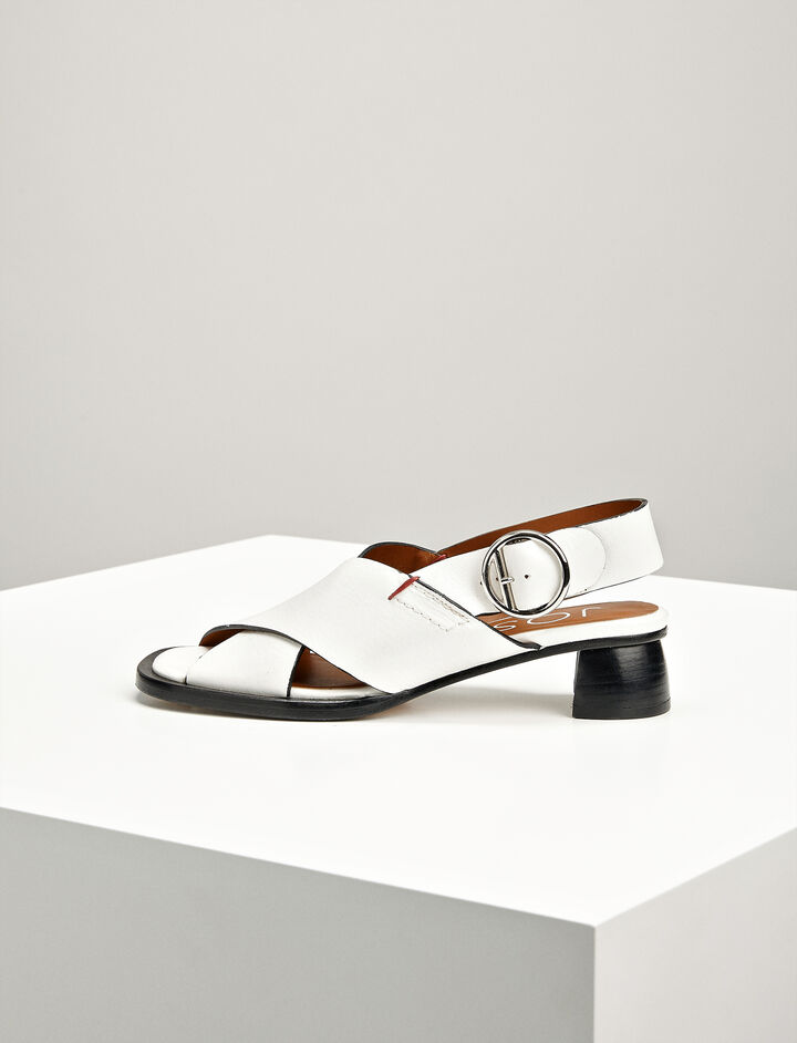 Joseph, Leather Cross Sandal, in OFF WHITE