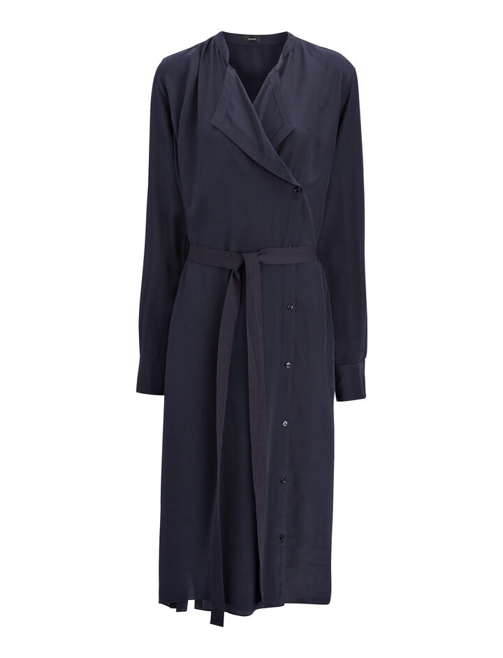 Crepe de Chine New Duke Dress, in NAVY, large | on Joseph