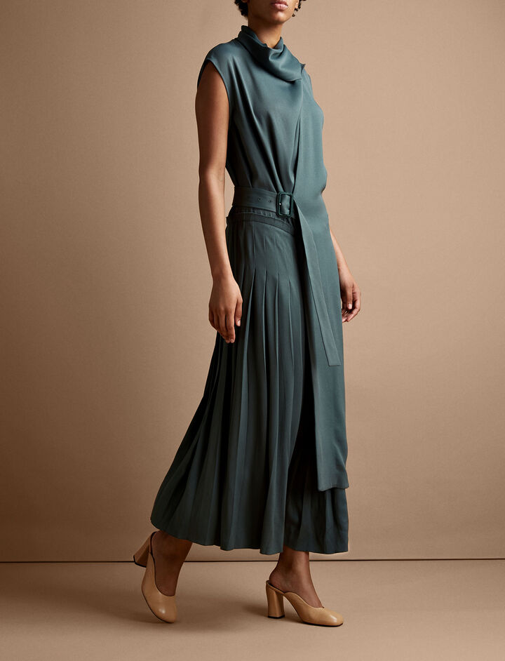 Joseph, Birley Glazed Cady Dress, in JADE