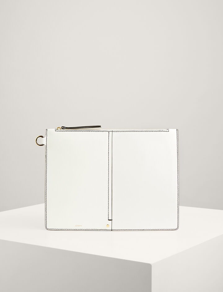 Calf-Leather Extra-Large Pouch, in WHITE, large | on Joseph