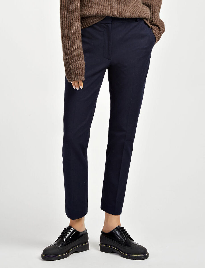 Pantalon Zoom en gabardine stretch, in NAVY, large | on Joseph
