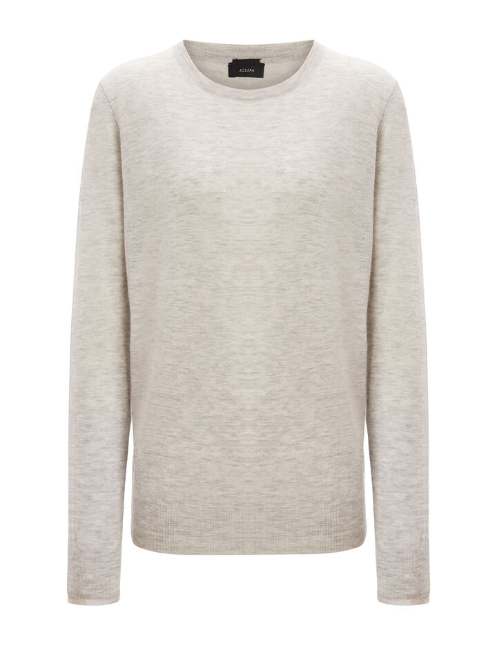 Joseph, Cashair and Patch Round Neck Sweater , in GREY CHINE