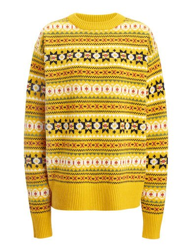 Fair Isle Knit Double Sweater, in YOLK, large | on Joseph
