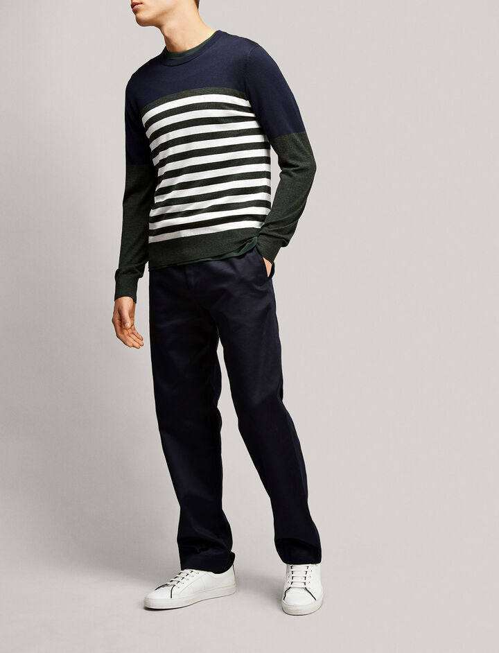 Joseph, Stripe Merinos Novelty Knit, in NAVY
