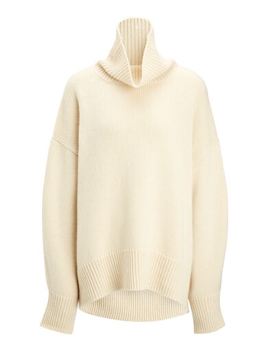 Cashmere Luxe High Neck Sweater, in ECRU, large | on Joseph