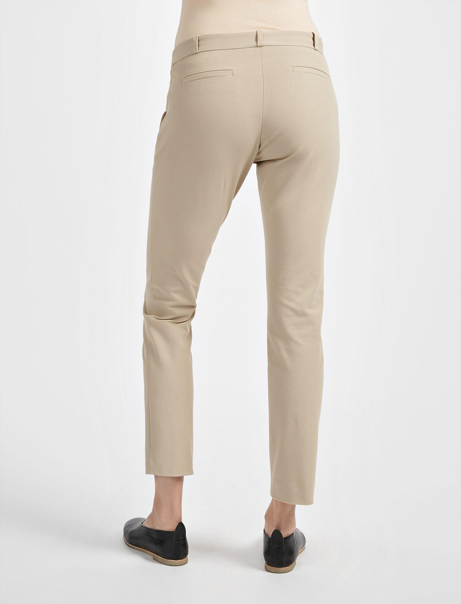Gabardine Stretch New Eliston Trouser, in BEIGE, large | on Joseph