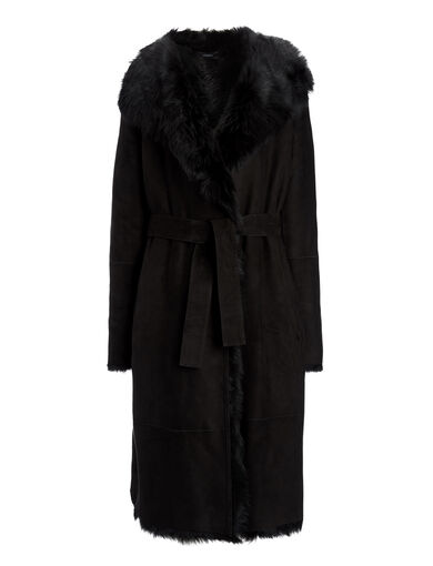 Long Hair Toscana Lima Sheepskin, in BLACK, large | on Joseph