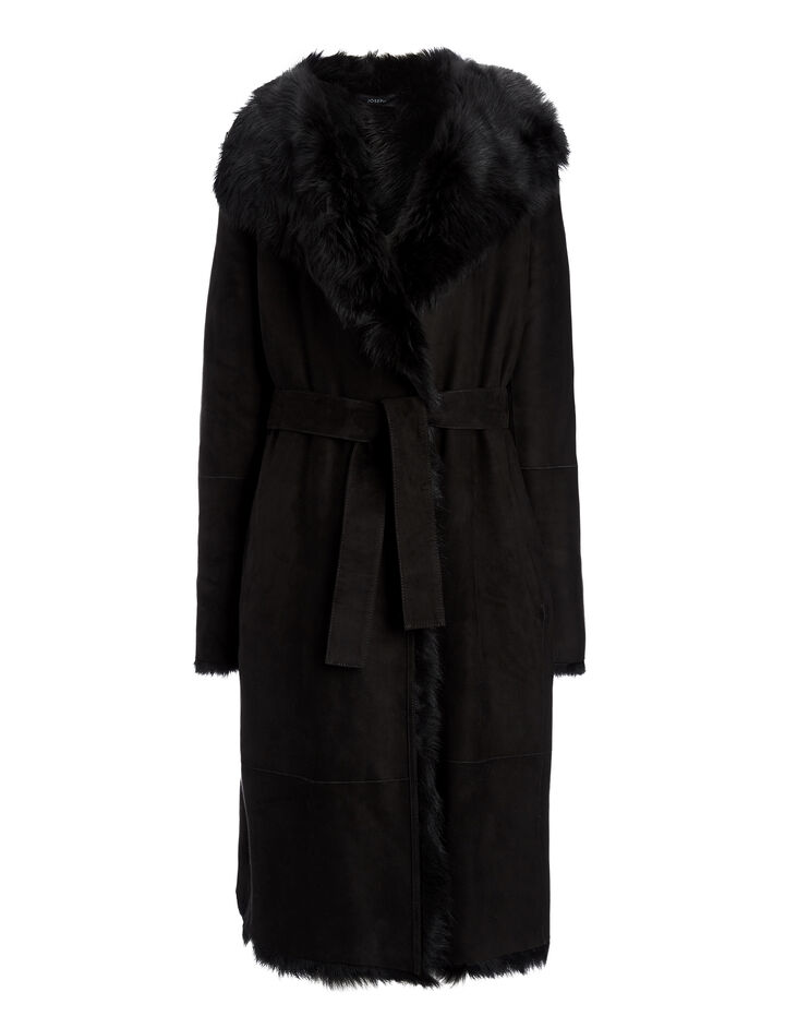 Joseph, Manteau Lima en fourrure Toscane, in BLACK