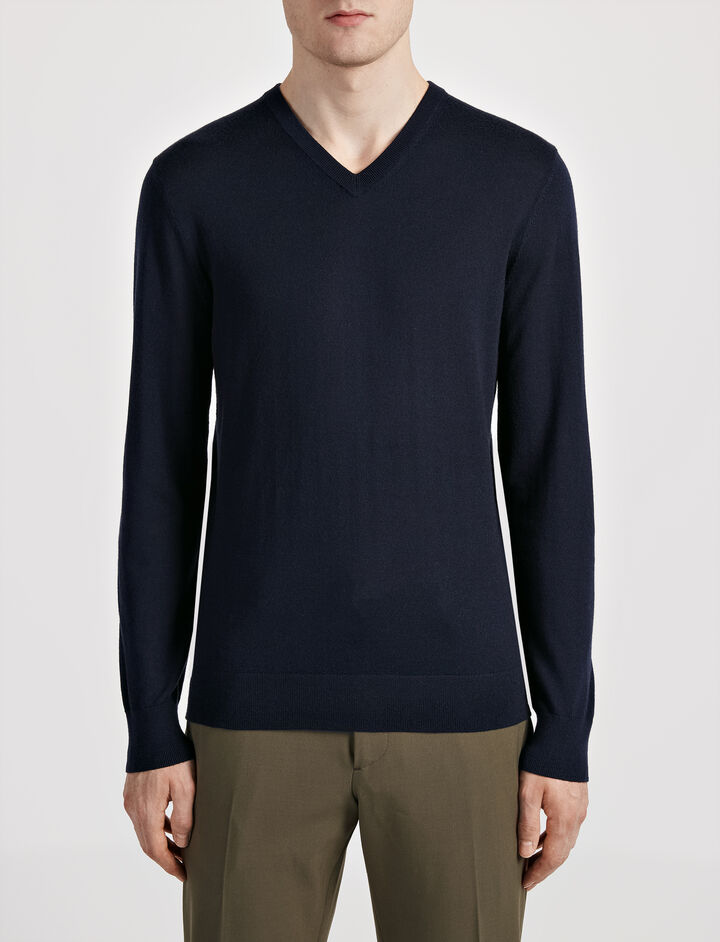 Joseph, Merinos and Suede Patch V Neck Sweater, in NAVY