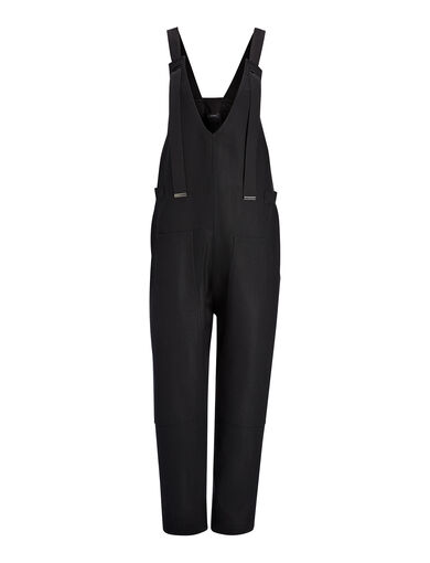 Double Cotton Crepe Wells Jumpsuit, in BLACK, large | on Joseph