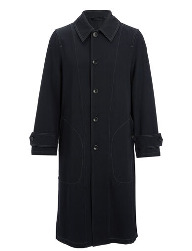 Wool Cotton Twill East Coat, in NAVY, large | on Joseph