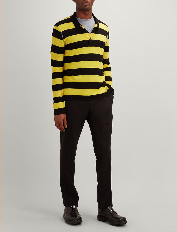 Light Stripe Rugby Polo, in BLACK/DANDELION, large | on Joseph