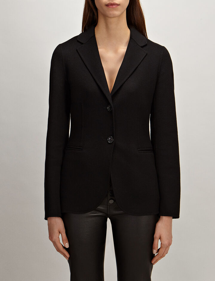 Light Double-Cashmere Archi Coat , in BLACK, large | on Joseph