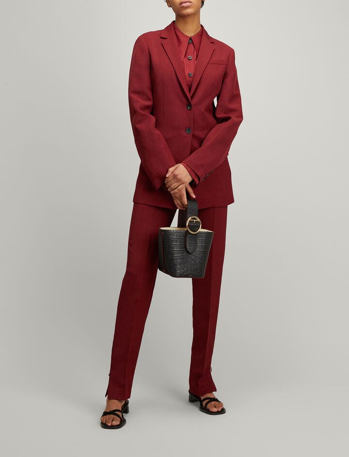 Joseph, Linen Suiting Cameo Blazer, in RUBY