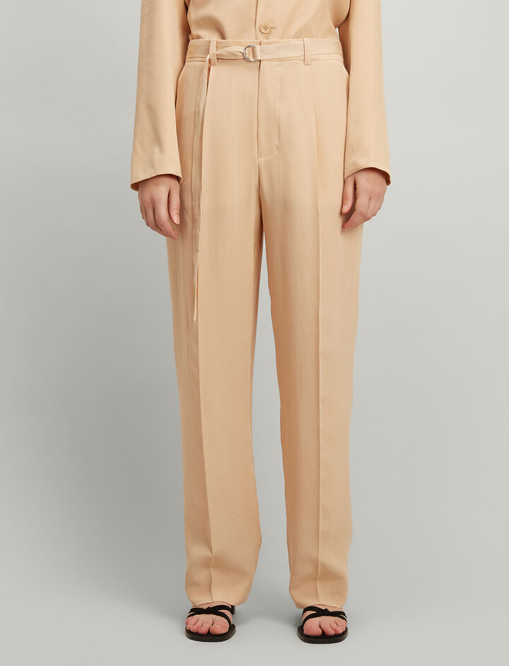 Joseph, Silk Toile Riska Trousers, in STUCCO