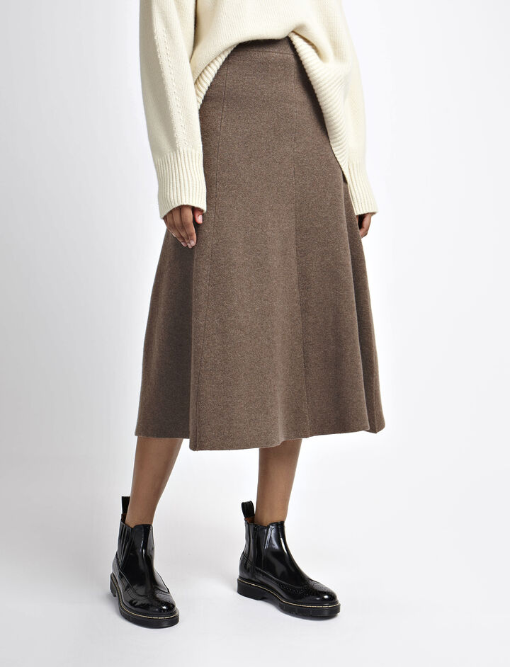 Soft Wool Skirt, in MILITARY, large | on Joseph