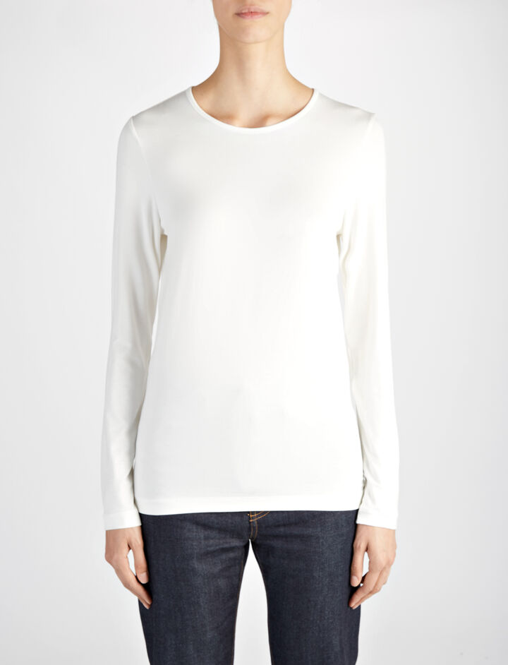 Joseph, Stretch Jersey Elbow Crew Neck Tee, in CHALK