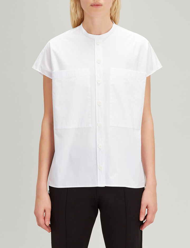 Cotton Poplin Isaac Top, in WHITE, large | on Joseph