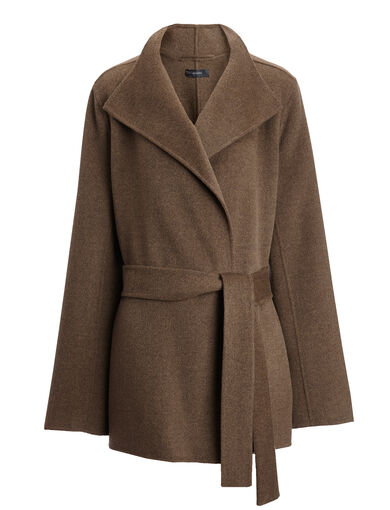 Double Face Cashmere Lima Short Coat, in MILITARY, large | on Joseph