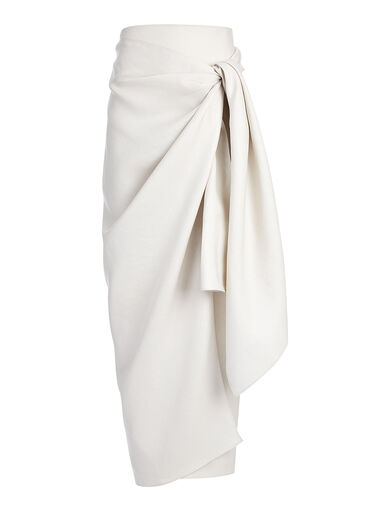 Metallic Twill Fran Skirt, in PUMICE, large | on Joseph