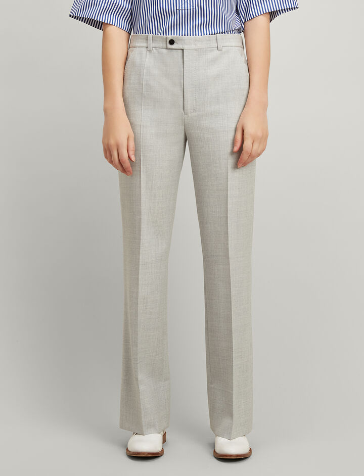 Comfort Wool Tropez Trousers, in GREY CHINE, large | on Joseph