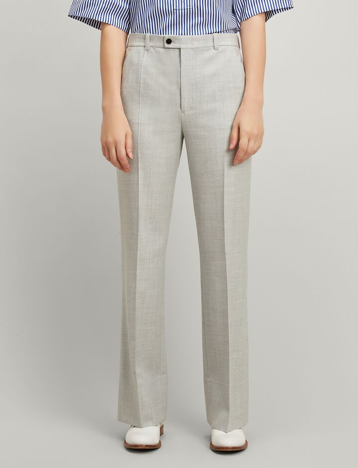 Joseph, Comfort Wool Tropez Trousers, in GREY CHINE