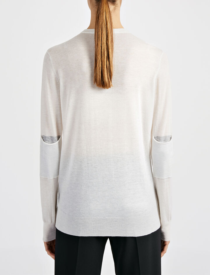 Cashair and Patch Sweater, in BONE, large | on Joseph