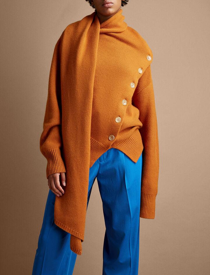 Joseph, Draped Wool Cashmere Knit Sweater, in MARMALADE