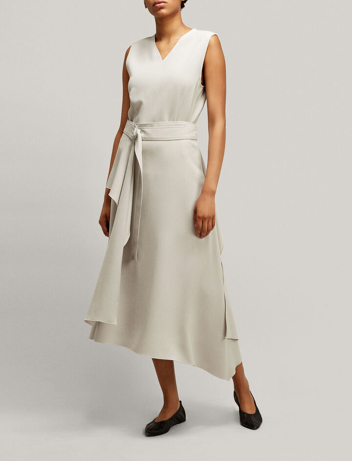 Joseph, Sybil Fluid Twill Skirt, in STONE