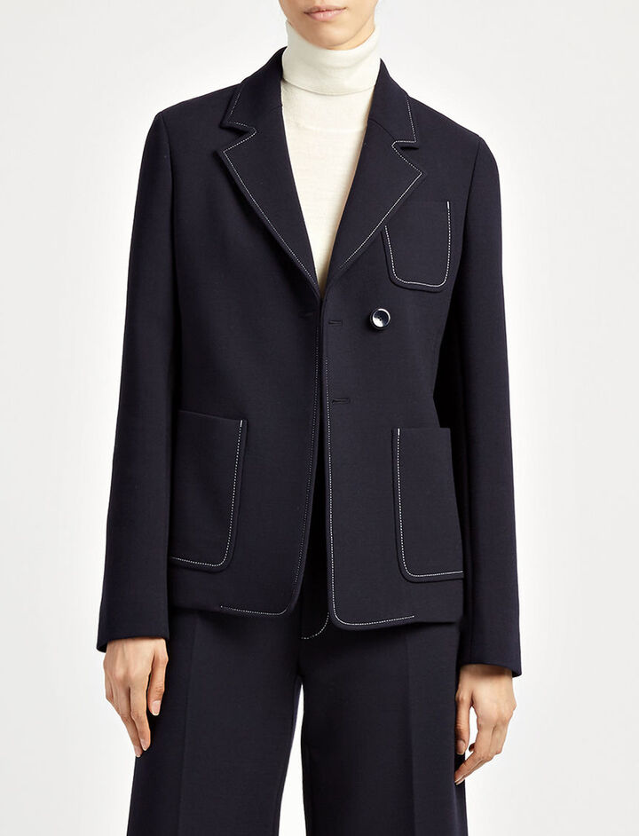 Bi-Stretch Wool Osaka Coat, in NAVY, large | on Joseph