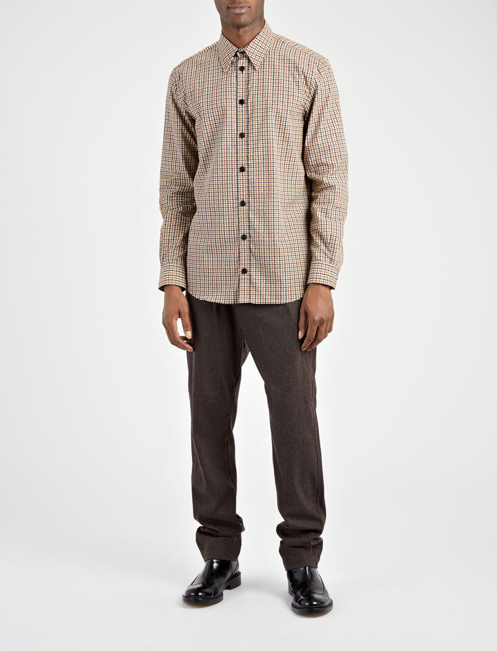 Dog Tooth Shirting Moriston Shirt, in OCHRE, large | on Joseph
