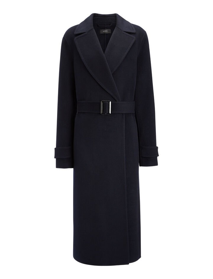 Double Face Cashmere Dale Coat, in NAVY, large   on Joseph