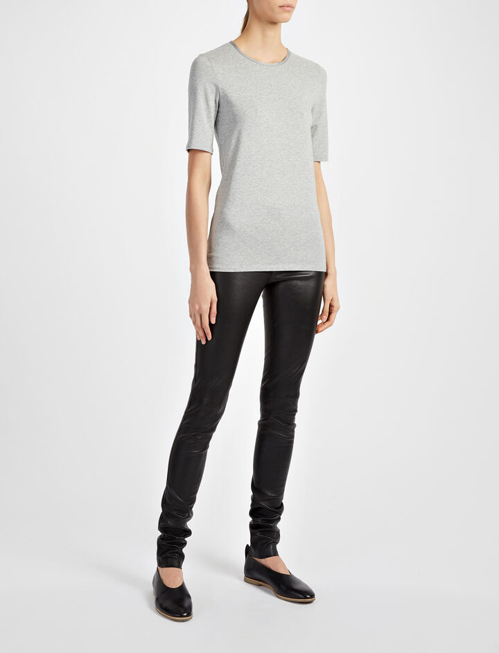 Cotton Lyocell Stretch Top, in GREY CHINE, large | on Joseph