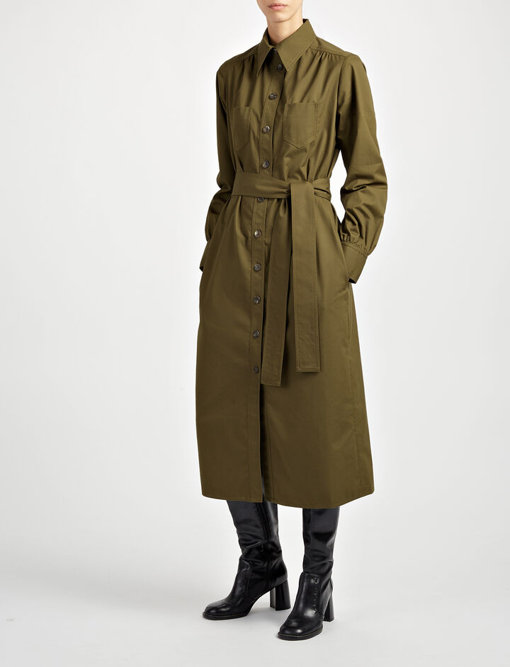 Royal Cotton Arden Dress, in KHAKI, large | on Joseph