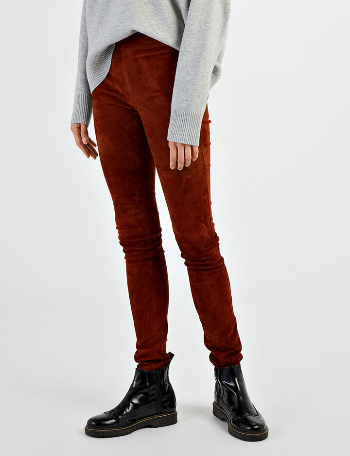 Legging en cuir stretch, in RUST, large | on Joseph