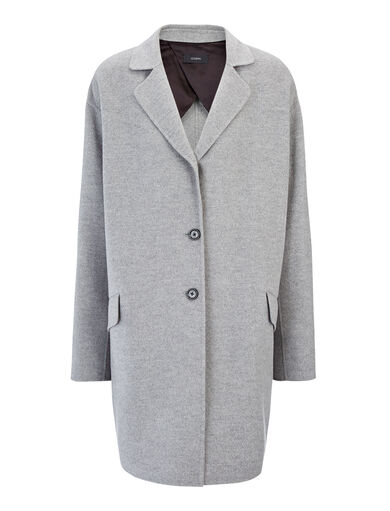 Light Double Cashmere Sido Short Coat, in GREY CHINE, large | on Joseph
