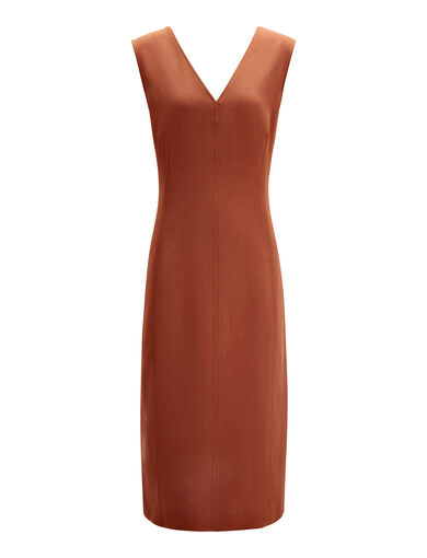 Stretch Flou Dana Dress , in RUST, large | on Joseph