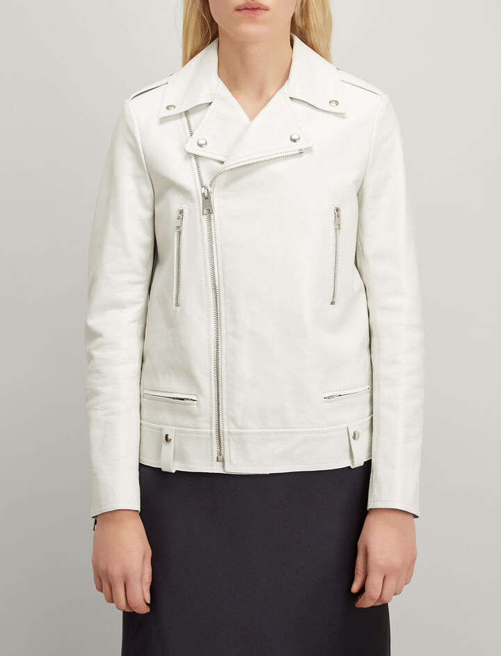 Ryder Leather Biker Jacket, in WHITE, large | on Joseph