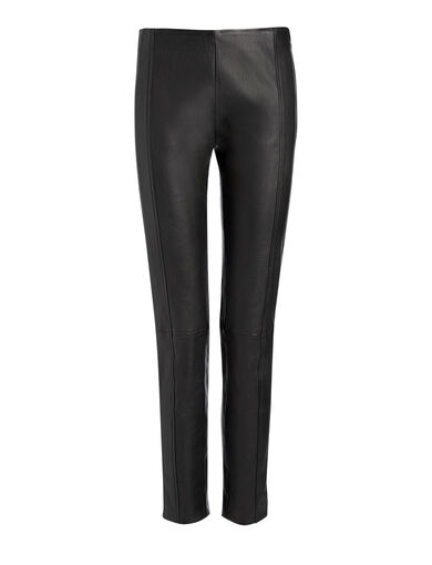 Leather Stretch Lenny Trousers, in BLACK, large | on Joseph