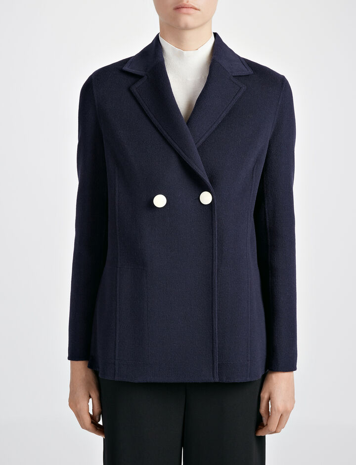 Light Double Cashmere Brest Jacket, in MARINE, large | on Joseph
