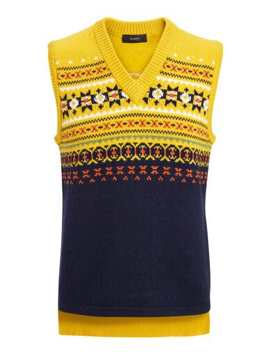 Fair Isle Knit V Neck Sleveless Sweater, in YOLK, large | on Joseph