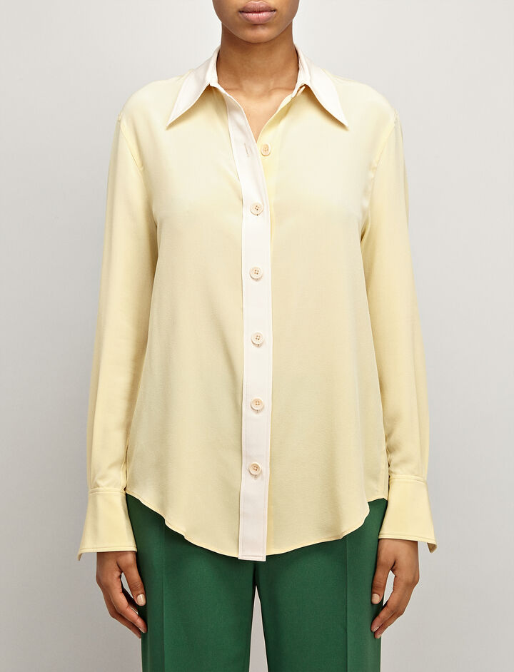 Crepe de Chine New Garcon Shirt, in CUSTARD, large | on Joseph