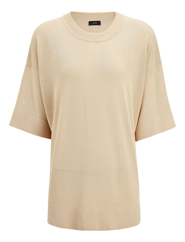 Fine Viscose Stretch Tee, in SAND, large | on Joseph