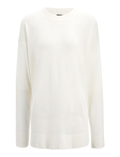 Fine Viscose Stretch Sweater, in OFF WHITE, large | on Joseph