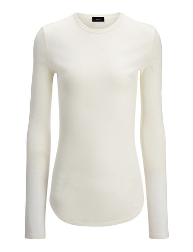 Cotton Cashmere Rib Top, in ECRU, large | on Joseph